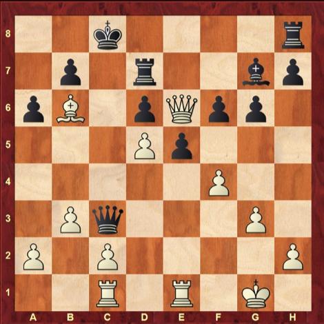 Chess position with FEN 2k4r/1p1r2bp/pB1pQpp1/3Pp3/5P2/1Pq3P1/P1P4P/2R1R1K1 w