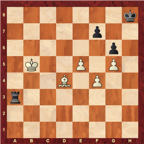 Chess position with FEN 7k/5p2/6p1/1K2P1P1/3B1P2/r7/8/8 w