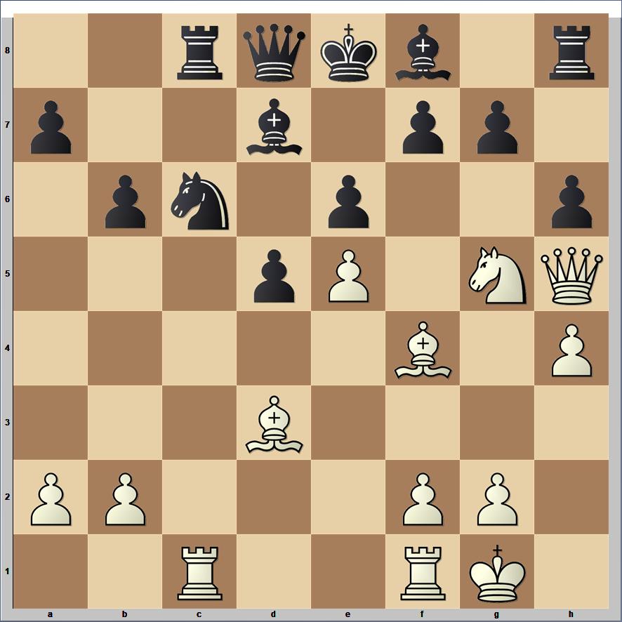 chess position with FEN - 2rqkb1r/p2b1pp1/1pn1p2p/3pP1NQ/5B1P/3B4/PP3PP1/2R2RK1