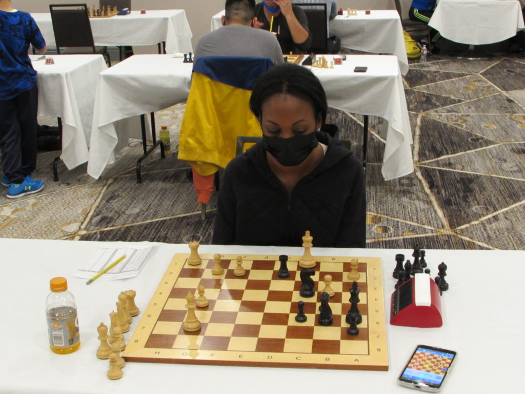 Stephanie Ballom teaches chess in New York and was in Texas visiting family. Photo by Arlington Chess Club's Jim Clarke.