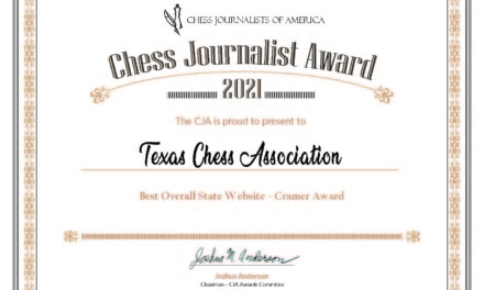 Texans Recognized with Chess Journalism Awards